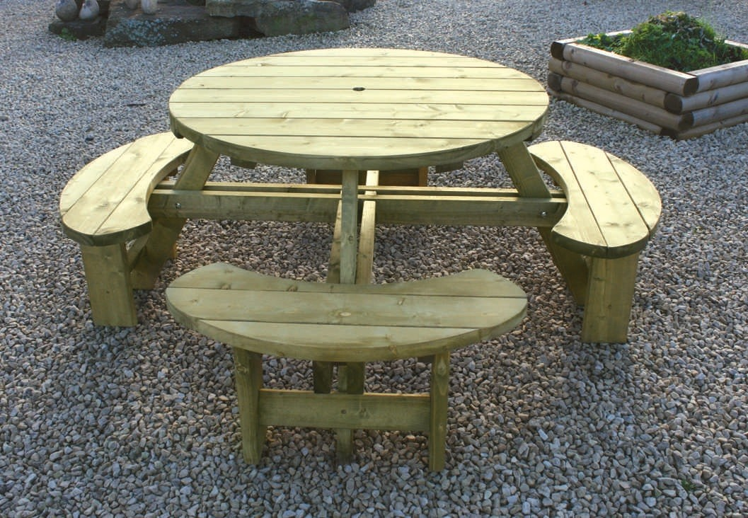 Round Table and Bench Seat 194cm