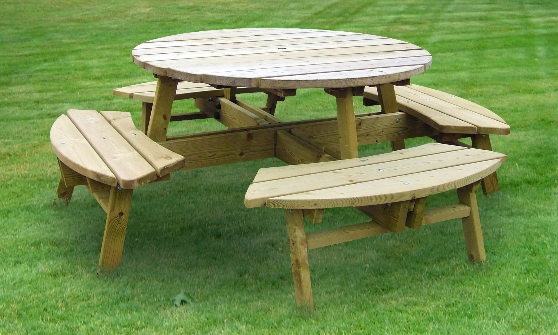 rose round picnic table 8 seater hillsborough fencing co ltd. Black Bedroom Furniture Sets. Home Design Ideas