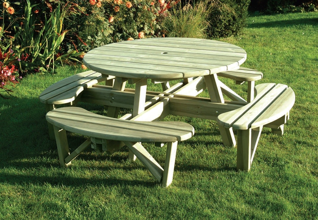 Elite Round Table and Bench Seat 210cm