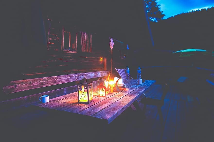 Outdoor Lighting on Communal Table