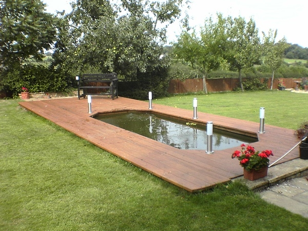 Pond surround composite decking